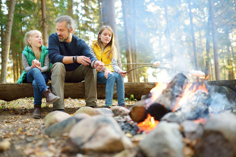 Familien Camp Wildnis mit Marshmallows über Lagerfeuer